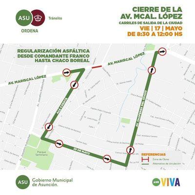 Cierre de un tramo de la avenida Mariscal López