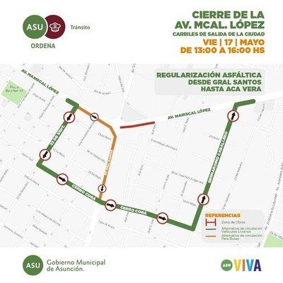 Tráfico caótico: Una parte de la Av. Mcal López está cerrada por obras
