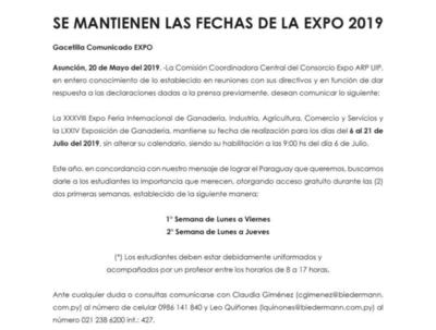 Expo 2019 mantiene sus fechas