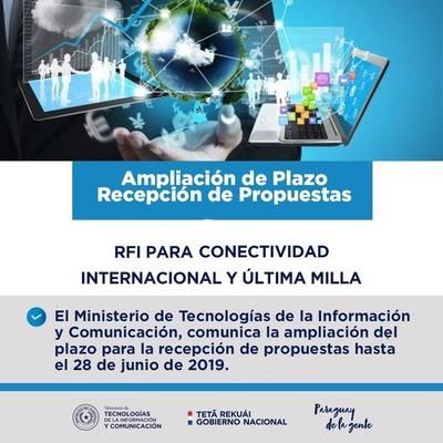 Mitic amplía plazo para recepción de propuestas en proyectos de conectividad