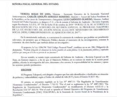 Ejecutivo denuncia irregularidades en Tekoporã durante el 2017
