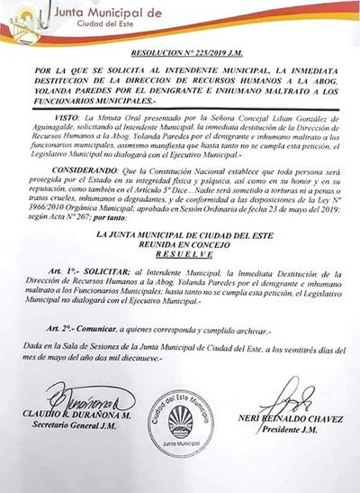 Junta Municipal de CDE pide inmediata destitución de Yolanda Paredes
