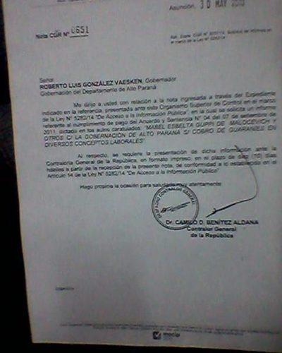 Contraloría General intima a González Vaesken