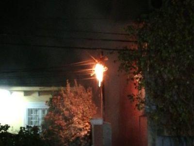 Susto por incendio en el tendido eléctrico