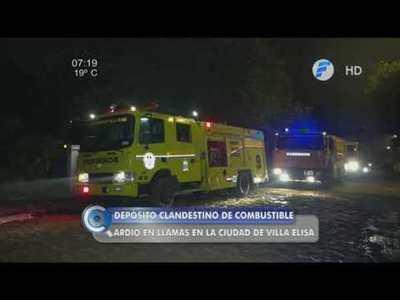 Depósito clandestino de combustible se incendia y causa susto