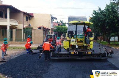 Realizan varias obras de bacheo y asfaltado en Luque