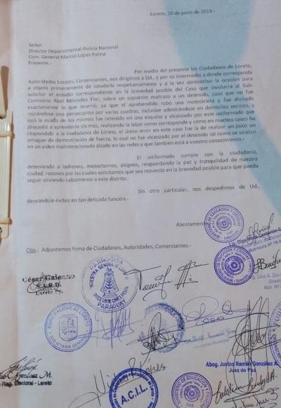 Fuerzas vivas de Loreto piden reposición de policía destituido
