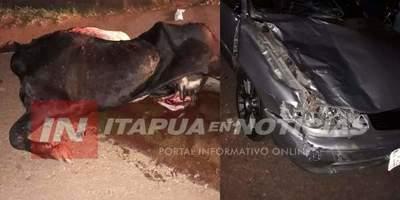 AUTOMÓVIL CHOCÓ CONTRA UNA VACA EN PLENO CENTRO DE CNEL BOGADO.