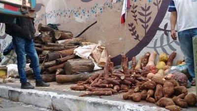 Con tubérculos, campesinos se manifiestan frente al MAG