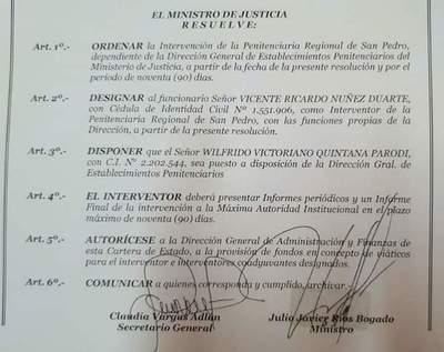Designan a nuevo director de Establecimientos Penitenciarios y del Penal de San Pedro