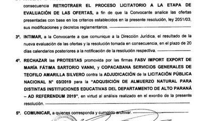 Contrataciones anula adjudicación fraudulenta del almuerzo escolar de la gobernación