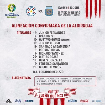 Paraguay tienen equipo definido para medir a Argentina