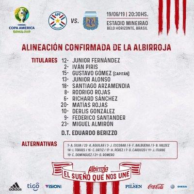 Paraguay tienen equipo definido para medir a Argentina