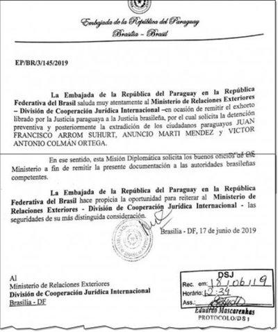 Paraguay pide extradición de Arrom, Martí y Colmán