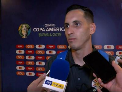 Júnior Fernández y Óscar Romero en zona mixta