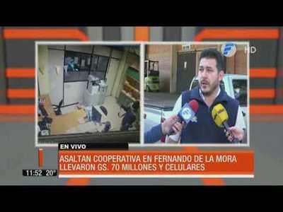 Asaltan cooperativa en Fernando de la Mora