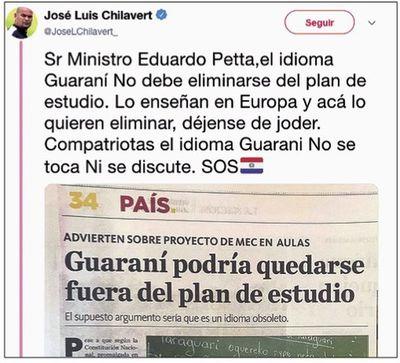 Emplazan a Petta sentar postura sobre el guaraní