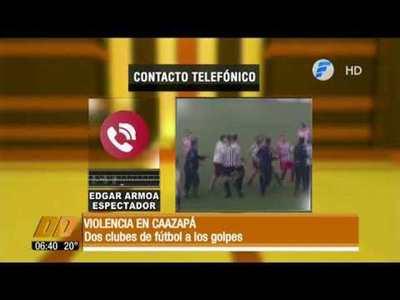Violencia en el fútbol. Dos clubes a los golpes en Caazapá