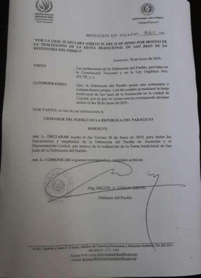 Suspenderán actividades laborales para participar de fiesta de San Juan