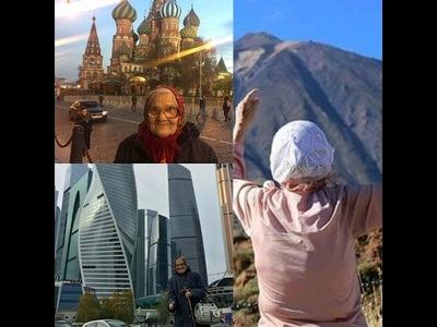 Yelena, la abeulita que recorre el mundo con dinero de su pensión