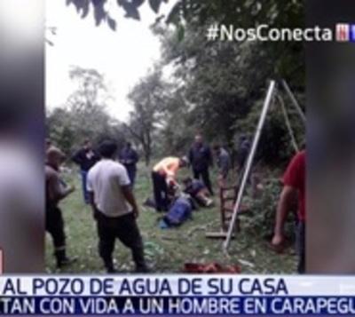 Bomberos rescataron a hombre que cayó a pozo