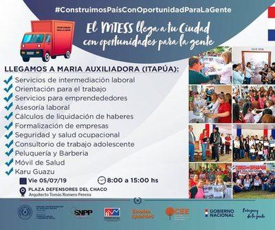 MTSS ANUNCIA LLEGADA A MARÍA AUXILIADORA CON TODOS SUS SERVICIOS.