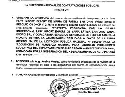 DNCP actúa de cómplice para que Gobernador adjudique almuerzo escolar a firma que falseó documentos