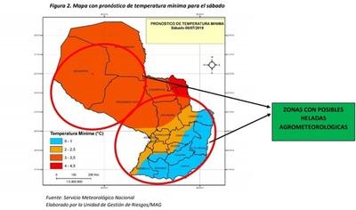 Ministerio de Agricultura alerta a productores sobre ingreso de frío polar