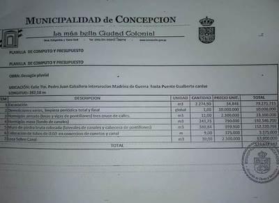 Obras de desagüe pluvial en Concepción fueron groseramente infladas, según planillas de cómputo