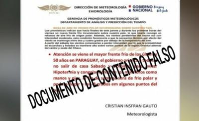 Metereología advierte sobre boletín de contenido falso
