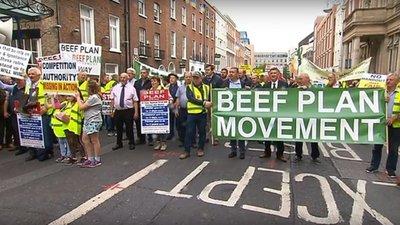 Ganaderos irlandeses marcharon contra el acuerdo entre Unión Europea y Mercosur
