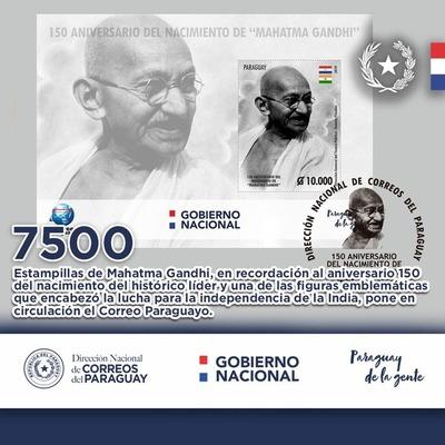 DINACOPA presenta sellos de Gandhi para conmemorar 150 aniversario de nacimiento
