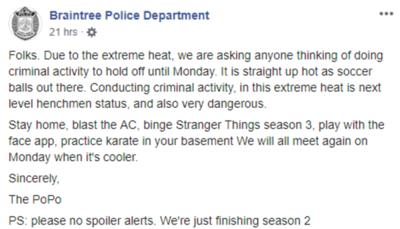 Policía de EE.UU pide no delinquir hasta que pase la ola de calor