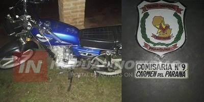 CARMEN DEL PNÁ: POLICÍA RECUPERA MOTOCICLETA HURTADA