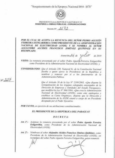 Alcides Jiménez fue nombrado nuevo presidente de la ANDE