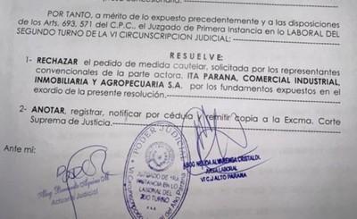 Jueza rechaza medida cautelar de Itá Paraná