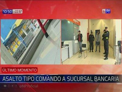 Ejecutan asalto tipo comando a sucursal bancaria en Limpio