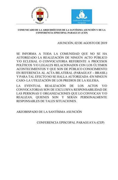 Arquidiócesis oñemboyke umi ojeruréva Tetã Paraguái myakãhára Abdo Benítez ñemongúi