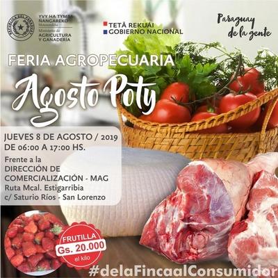 "Este jueves feria agrícola ""Agosto Poty"" en San Lorenzo"
