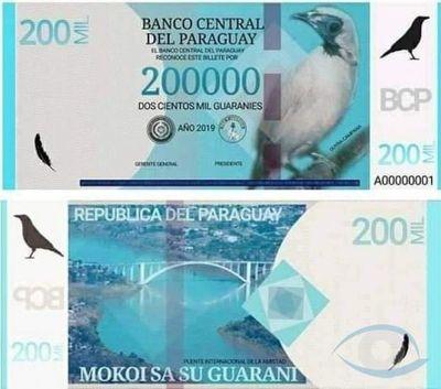 Supuesta circulación de billetes de G. 200.000 mil es falso