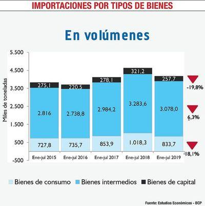 La importación de bienes de capital cayó  19%, en volumen