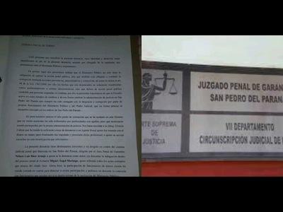 DENUNCIAN A JUEZ Y ACTUARIO DE SAN PEDRO DEL PARANÁ