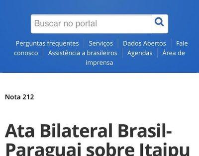 Brasil reitera que Acta Bilateral quedó sin efecto