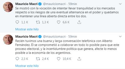 Macri conversa con peronista Fernández para «llevar tranquilidad a mercados»