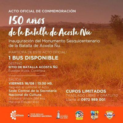 En conmemoración a batalla de Acosta Ñu inauguran monumento a niños mártires