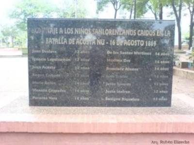 Niños sanlorenzanos en la batalla de Acosta Ñu