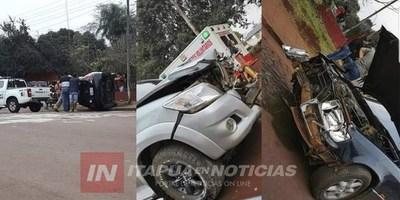 CHOQUE MÚLTIPLE Y VUELCO EN PLENO CENTRO DE NATALIO