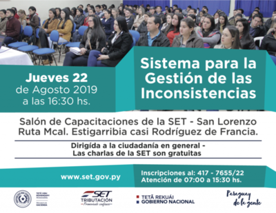 Tributación: jueves capacitación en San Lorenzo