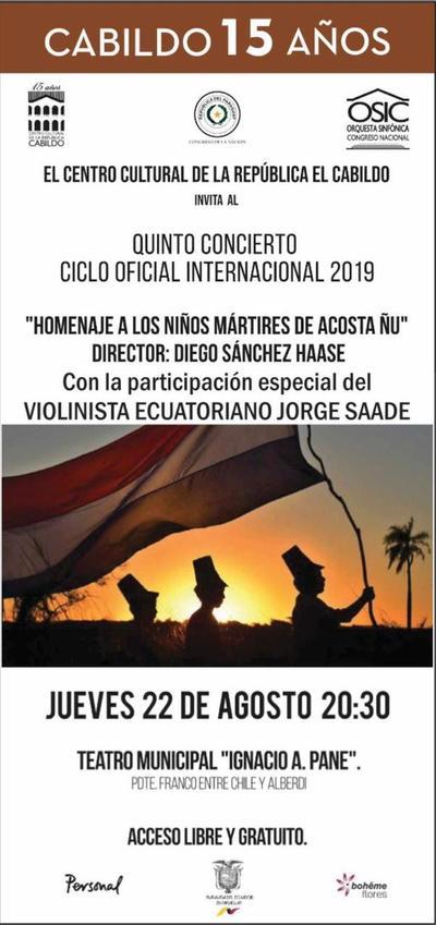 Quinto concierto de temporada de la OSIC con homenaje a niños mártires de Acosta Ñu