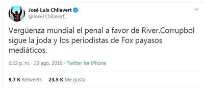 """Chilavert y otra dura crítica contra la """"Corrupbol"""", tras el penal a favor de River contra Cerro"""
